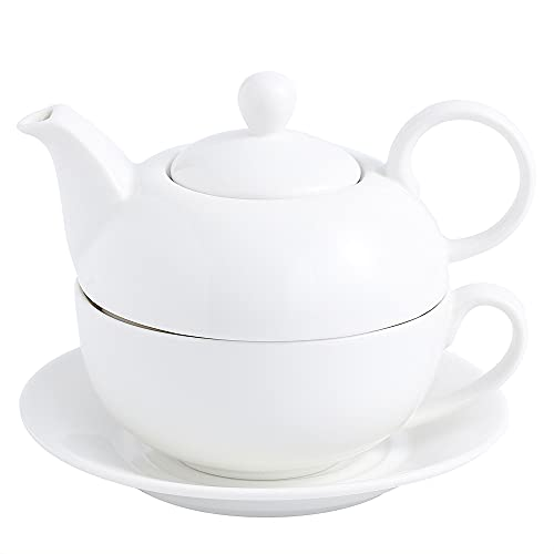 MALACASA, Serie Sweet.Time, Porzellan Teeservice Teeset 4 teilig Set Teekanne mit Tasse und Untersetzer Teekannen & Kaff