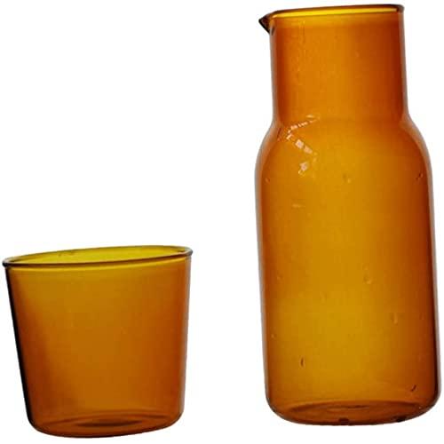 gongxi Nachttisch-Wasserkaraffe, Getränkekrug Karaffe Saftglas, Getränkekaraffe, Eistee-Krug Mit Deckel Für Heißes Kaltes Wasser, Farbiges Transparentes Milchkaffeetassenset Aus Glas Glass-A