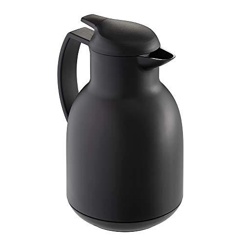 Leifheit Bolero 1, 0 L Isolierkanne, 100% dicht, Thermoskanne mit doppelwandigem Vakuum-Glaskolben, praktisches Öffnen und Schließen mit einer Hand, Kaffekanne, Teekanne, schwarz, gef