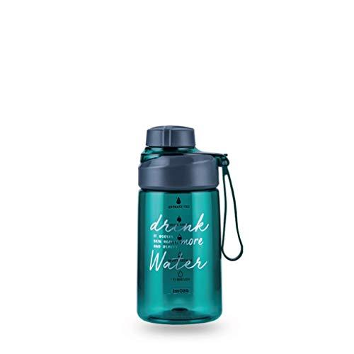 Karaffe Krug Sportflasche mit Time Marker-Durable Tragbare Kunststoff-Wasser-Flasche-Fast Flow, einfache Students Outdoor Fitness Cup, Sealed Wasserkrug/Wasserkaraffe ( Color : Green , Size : S )