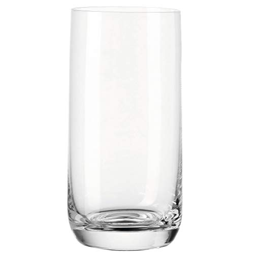Leonardo Daily Trink-Gläser, 6er Set, spülmaschinenfeste Wasser-Gläser, geradlinige Glas-Becher, Getränke-Set, Saft-Gläser, groß, 330 ml, 063325