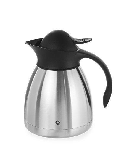 HENDI Isolierkanne, mit schwarzem Druckverschluss, Doppelwandige, Kaffekanne, Termoskanne, Teekanne, 1L, Edelstahl, Polypropylen, ø145x(H)205mm