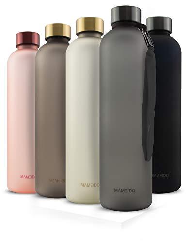 MAMEIDO Trinkflasche 1l Carbon Grey - auslaufsicher, Kohlensäure geeignet, BPA frei - Sportflasche aus Tritan - BPA frei - Wasserflasche für Sport, Outdoor, Gym & Bü