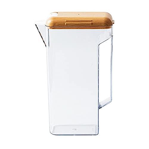Großer Wasserkrug mit Deckel, 1600ml Wasserkaraffe, Eisteekrug Geeignet für Wasser, Tee, Saft, Limonade | Platzsparende Form, auslaufsicherer Kunststoffkrug (Size : Without cup)