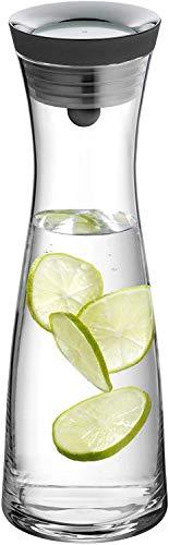 WMF Basic Wasserkaraffe aus Glas, 1 Liter, Glaskaraffe mit Deckel, Silikondeckel, CloseUp-Verschlu