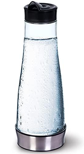 KitchenGet - Wasserkaraffe Aus Glas mit Deckel - Glaskaraffe Für Wasser 1 Liter - Glaskaraffen Mit Schraubdeckel Und Sockel - 1000 m