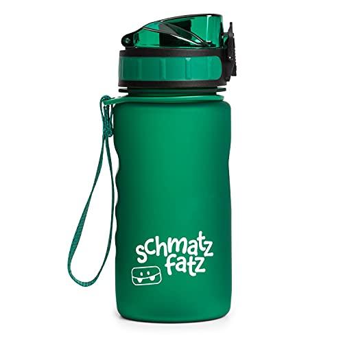 schmatzfatz auslaufsichere Sport Trinkflasche Kinder, BPA frei, 350ml, Fruchteinsatz, 1-klick Verschluss, Kinder Trinkflasche für Schule Kindergarten (Grün)