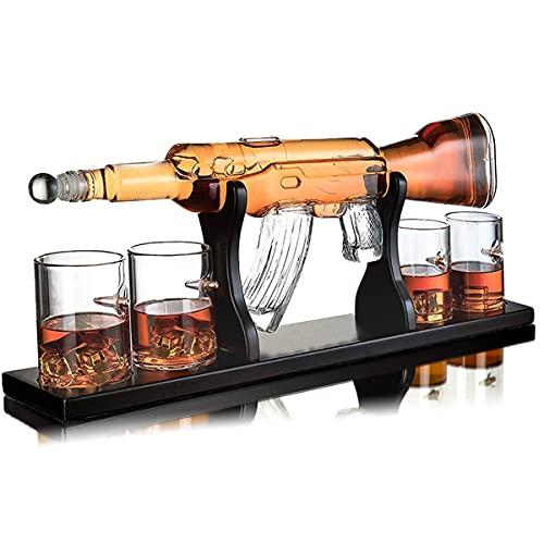 Whisiskey® Whisky Karaffe - Gewehr - Whiskey Karaffe Set - 1000 ML - Geschenke für Männer - Inkl. 9 Whisky Steine, Ausgießer & 4 Whisky Glä