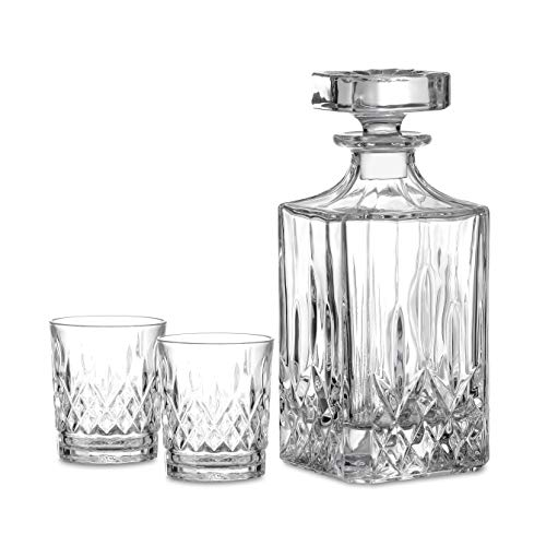 Amisglass Whiskey Karaffe mit 2 Gläsern, Whiskey Set, 3-teilig, Whisky Dekanter 700ml und Whisky Gläser 300ml 2 Stück, Kristallgläser & Longdrinkglä