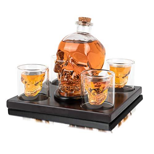 Whisiskey® Whisky karaffe - Schädel - Whiskey Set - 900 ml - Geschenke für Männer - Inkl. 9 Whisky Steine, Ausgießer & 4 Glä