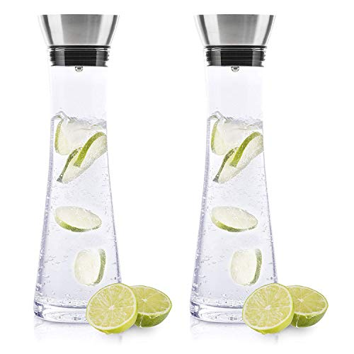 BeBuy24 2X Wasserkaraffe Glas (1 Liter) - Glaskaraffe mit Deckel und Ausgießer Wasserflasch