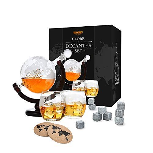 Whiskey Dekanter Set - Globus Karaffe aus Glas 850ml - 2 Whisky Gläser Set mit 9 Whiskysteinen - Whiskey-Weltkugel mit Schiff - Geschenkset - Alkohol Geschenke für Männer, Vater, Bruder von Toys4Boy