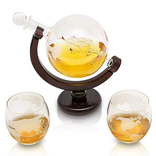 VinoYes- Edle Whisky-Karaffe Set mit 2 gratis Gläser aus Handarbeit - 850ml (L - Mit 2 Gläser)