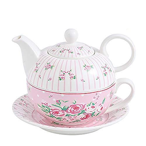 MALACASA, Serie Sweet.Time, Porzellan Teeservice Teeset 4 teilig Set Teekanne mit Tasse und Untersetzer Blumen Motiv Teekannen & Kaff