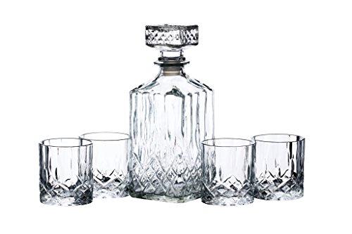 BarCraft, Set aus Whisky-Karaffe und Tumbler-Gläsern mit Eingeschnittenem Dekor, Spirituosenflasche mit Gläsern in Geschenkbox (5 Stück)