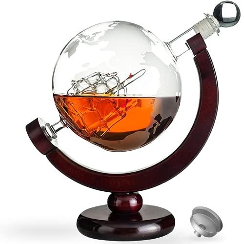 Awemoz® Whiskey Karaffe - Globus - Whisky Karaffe - Geschenke für Männer - 800 ml - Inkl. Ausgieß