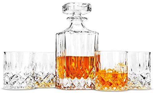 LANFULA Whisky Karaffe und Gläsern Set, 750 ml Dekanter mit 4 Bleifrei Kristall Gläser 300 ml. 5-teiliges, Geschenk für Whiskey Liebhab