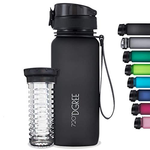 """720°DGREE Trinkflasche """"uberBottle"""" softTouch +Früchtebehälter - 1L - BPA-Frei - Wasserflasche für Uni, Sport, Fitness, Fahrrad, Outdoor - Sportflasche aus Tritan - Leicht, Bruchsicher, Nachh"""