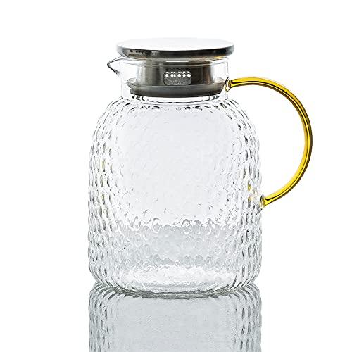 MDZF SWEET HOME Karaffe,Glaskaraffe mit Deckel,1.8 Liter 63 Unzen Glas Karaffe,Saft Krug,Wasserkrug,Wasserkaraffe aus G