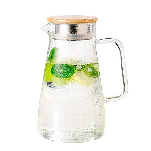 HJYSQX 1,5 l/Liter Wasserkrug, Glaskrug, Borosilikat-Teekanne, Karaffe mit Deckel, Eistee-Krug, Wasserkaraffe für Wein, Kaffee, Milch und Saft-Getränke-Karaffe (Einzelkanne, Keine Tasse)