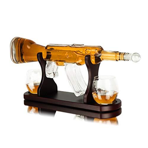 Whisiskey® Whisky Karaffe - Gewehr - Whiskey Karaffe Set - 1000 ml - Geschenke für Männer - Inkl. 2 Whisky Gläser, 9 Whisky Steine und Ausgieß