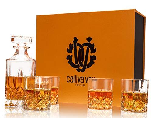 calliva von Von Whiskey Gläser und Karaffe Set, 750 ml Whisky Dekanter mit 4 Bleifrei Kristall Gläser 300 ml, Prächtige Geschenkbox, 5-