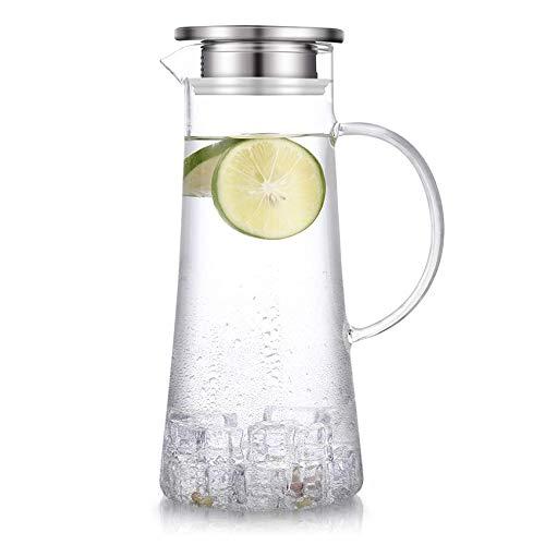 susteas 1.5 Liter Glaskaraffe, Karaffe mit Deckel, Eistee Krug Wasserkrug heißes kaltes Wasser Eistee Wein Kaffee Milch und Saft Getränkekaraffe wasserkaraff