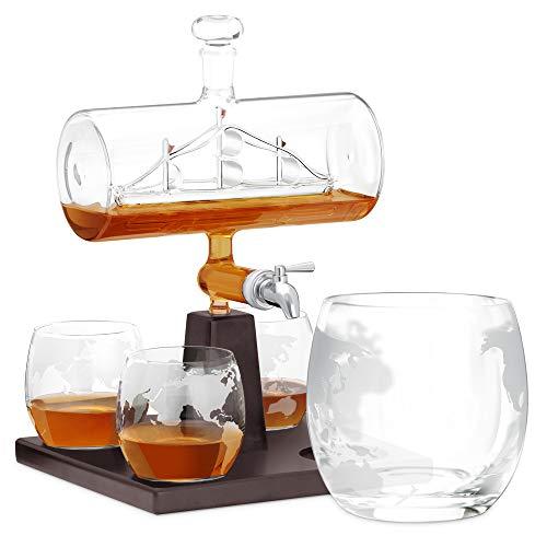 Murrano Whisky Karaffe mit Gravur - Schiff mit Edelstahl-Wasserhahn, 1000 ml - 4er Whiskygläser Set - Whisky Dekanter ohne Gravu