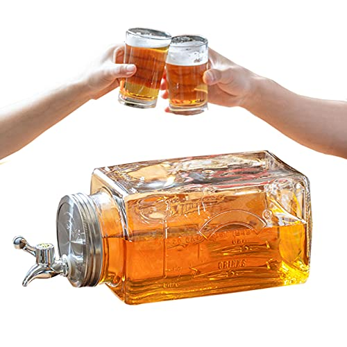 GUOGEGE 3 Liter Glas Karaffe Krug, Wasserkaraffe mit Deckel und Auslauf, Glaskrug aus Robustem Glas für Hausgemachte Getränke Eistee Milch Kaffee W