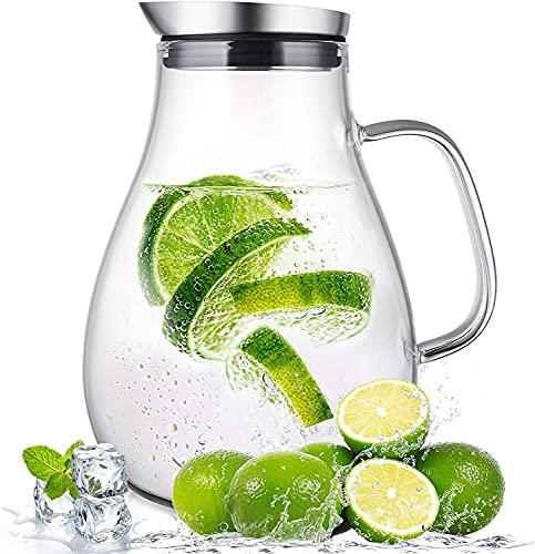 SUSTEAS 2,0 Liter Glaskrug mit Deckel Wasserkaraffe Krug für Warm/Kaltwasser, Eistee und Saftgeträ