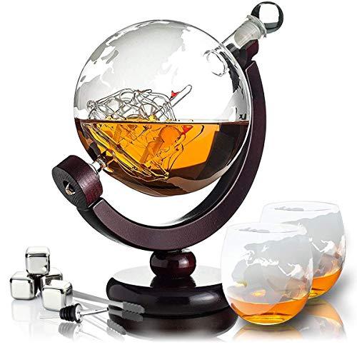 Whisiskey® Whisky Karaffe - Globus - Whiskey Karaffe Set - 800 ml - Geschenke für Männer - Inkl. 4 Whisky Steine, 2 Whisky Gläser & Ausgieß