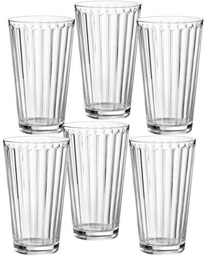 Ritzenhoff & Breker 807004 Longdrinkgläser-Set Lawe Stripes, 6-teilig, je 400 ml, Klar, Glas, 400 m