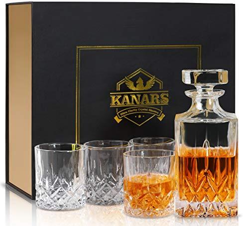 KANARS 5-teiliges Whiskey Karaffe Set, 750ml Whisky Dekanter mit 4x 300ml Gläser, Bleifrei Kristallgläser, Schöne Geschenk Box, Hoch