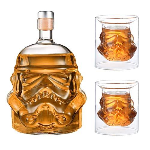 JUSSES Whisky Karaffe Whisky Decanter Wein dekanter whiskey Whisky Karaffe aus Glas mit Korkenverschluss-750ml Bottle +2G