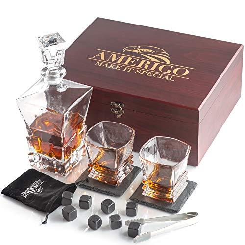 Deluxe Whisky Steine Geschenkset mit Whisky Karaffe - Sei anders bei der Geschenkauswahl - Handgemachte Holzkiste mit 2 Whisky Gläser + 2 Luxus Untersetzer - 8 Granit Kühlsteine - Männer Gesch