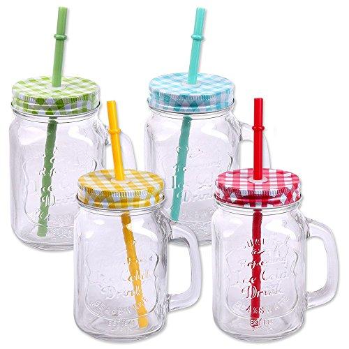 Schramm® 4 Stück Trinkgläser mit Deckel, Henkel und Mehrweg -Strohhalm Trinkhalm wiederverwendbar (iii) Glas Gläser Trinkglas Cocktail ca. 500ml D