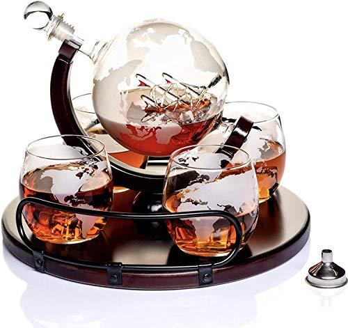 Whisky Karaffe Globus für Alkohol - Whiskey Decanter Bar Set mit Gläser Holzständer und Weltkarte - Geschenke für Männer und Frauen - Glas Flasche Zubehör für Gin, Rum, Scotch, Likör, Bourbon, W